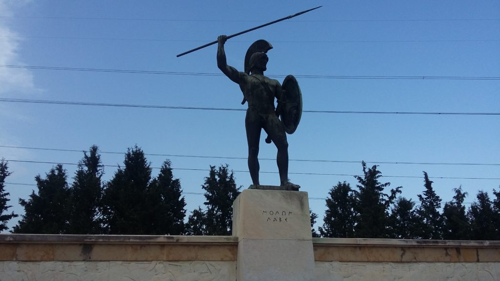 статуя Леонида из Спарты в Фермопилах
